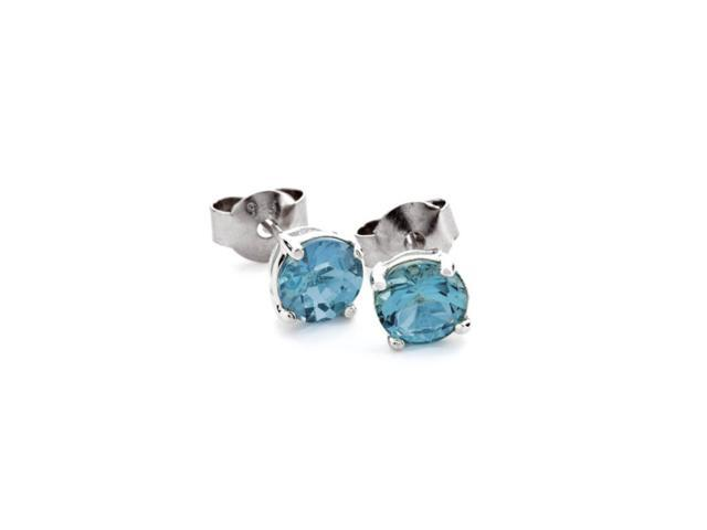 18k White Gold 1 Carat Round Blue Cubic Zirconia Stud Earrings