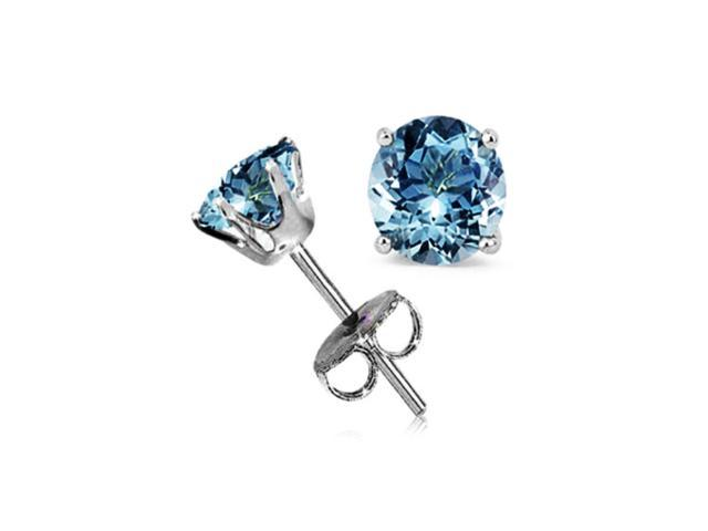 18k White Gold 1/2 Carat Round Aquamarine Cubic Zirconia Stud Earrings