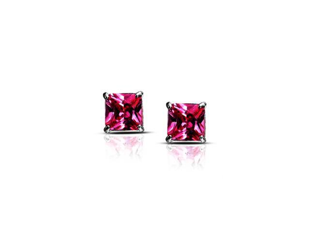 Platinum Over Sterling Silver 4 Ct Pink Princess Cz Stud Earrings