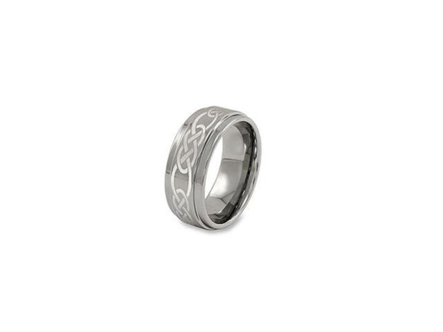 Tungsten And Titanium Celtic Lasered Step Edges Band For Unisex