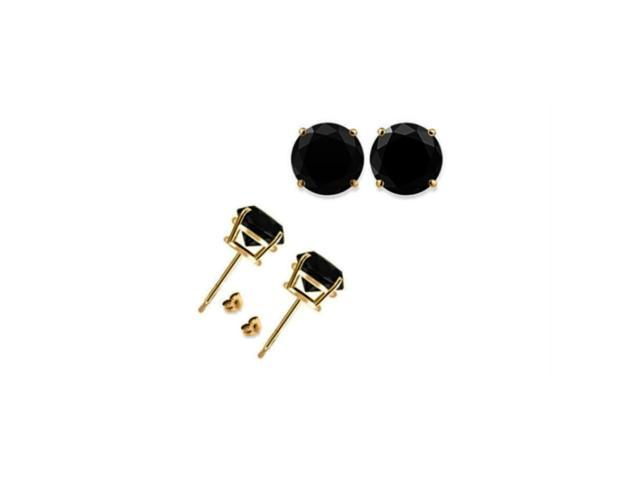 14K Yellow Gold Over Silver 1/4 Ct Round Black Cubic Zirconia Stud Earrings
