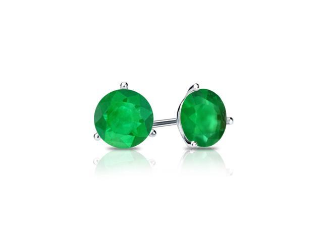 14k White Gold 3 Carat Round Green Cubic Zirconia Stud Earrings