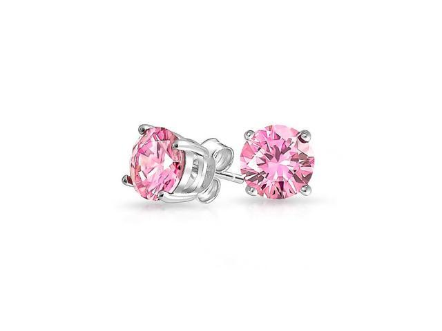 14k Heavy White Gold 2 Carat Round Pink Cubic Zirconia Stud Earrings