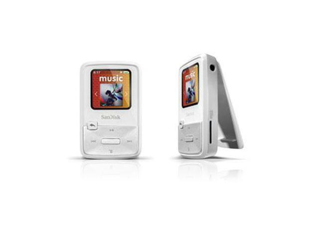 "SanDisk Sansa Clip Zip 1.1"" White 4GB MP3 Player SDMX22-004G-A57W"