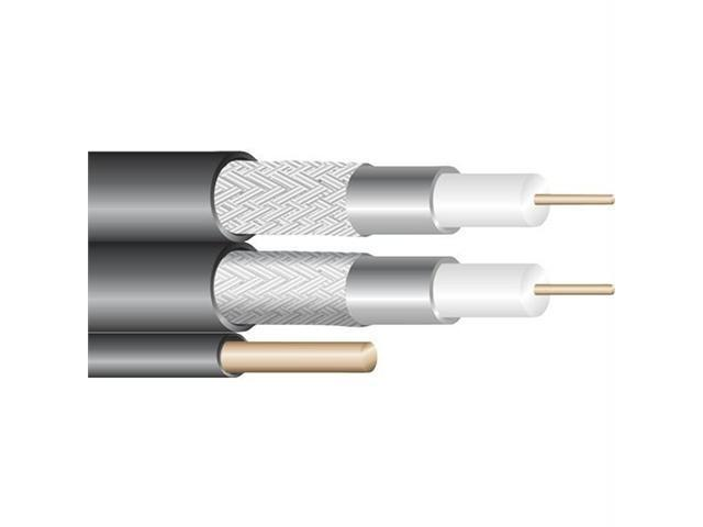 FORZA 41158 Forza 41158 dual rg6 coaxial cables with messenger, 500 ft (bare copper&#59; black)
