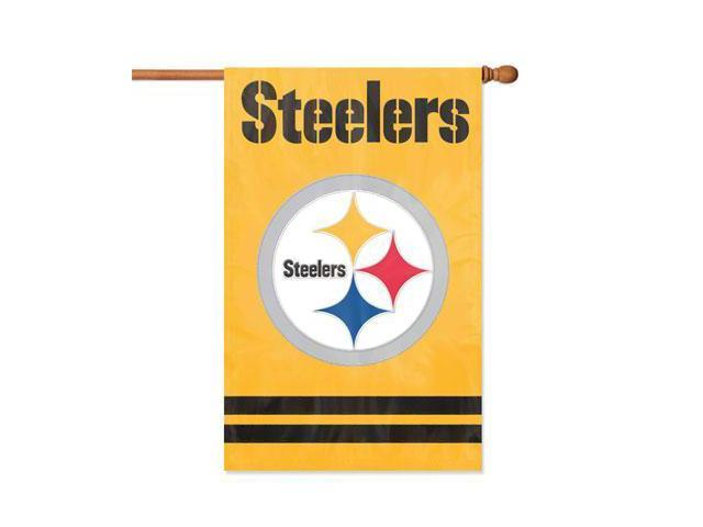 """Party Animal Steelers Gold Applique Banner Flag - 44"""" x 28"""" - Heavyweight, Weather Resistant, Embroidered, Hang Tab, Applique, ..."""