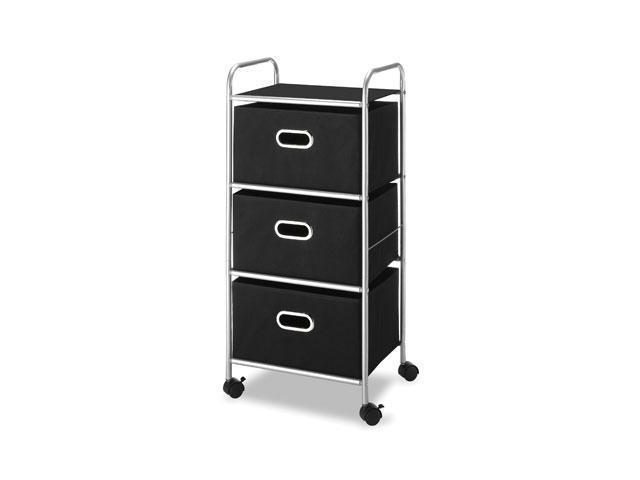 "Whitmor Mobile Cart - 3 Drawer - 4 Casters - Polypropylene - 17.2"" Width x 13"" Depth x 35"" Height - Black"