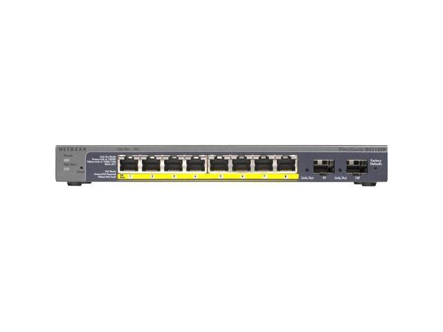 Netgear Prosafe 8-Port Gigabit PoE Smart Switch with 2 Gigabit Fiber SFP - 8 Ports - Manageable - 2 x Expansion Slots - 10/100/1000Base-T, 1000Base-X - Uplink Port - 2 x SFP Slots - 2 Layer Supported