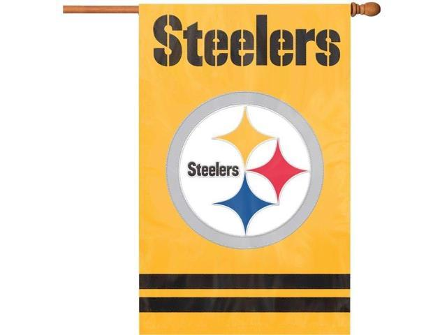 "Party Animal Steelers Gold Applique Banner Flag - 44"" x 28"" - Heavyweight, Weather Resistant, Embroidered, Hang Tab, Applique, ..."