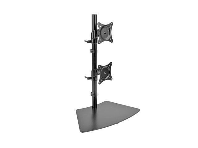 Tripp Lite DDR1527SDC Dual Vertical Desk Mount Monitor Stand Swivel Tilt Rotate 15-27 Inch - Desk Mount For 2 Lcd Displays - Metal - Black - Screen Size: 15 Inch - 27 Inch