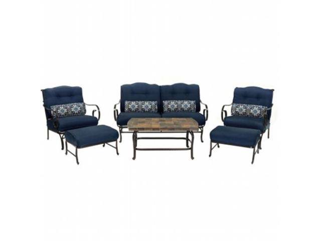Hanover OCEANA6PC-NVY Outdoor Oceana 6-Piece Patio Set in Navy Blue with a Stone-top Coffee Table