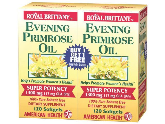 Evening Primrose Oil 1300mg Royal Brittany Twin Pack - American Health Products - 120+120 - Softgel