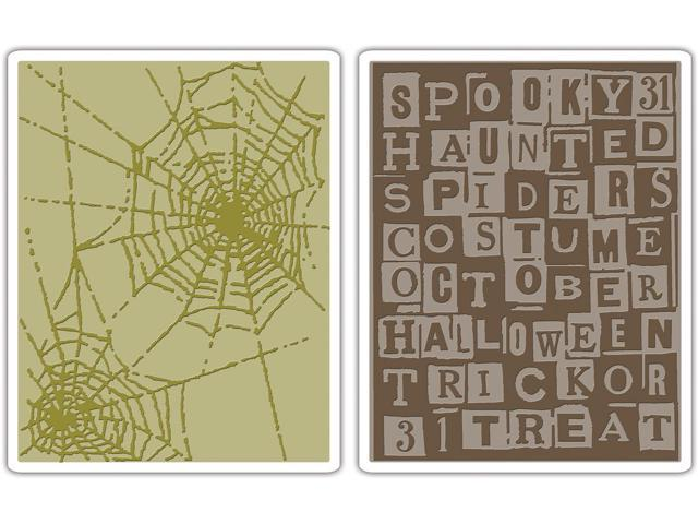 Sizzix Texture Fades Embossing Folders 2/Pkg By Tim Holtz-Halloween Words & Cobwebs