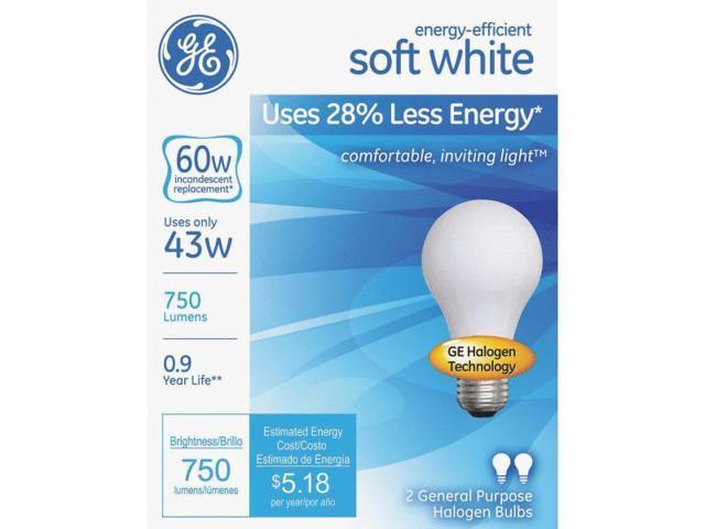 GE Lighting 63003 2-Pack Soft White Halogen Light Bulb-43W SW HALOGEN BULB