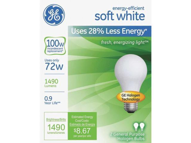 GE Lighting 63005 2-Pack Soft White Halogen Light Bulb-72W SW HALOGEN BULB