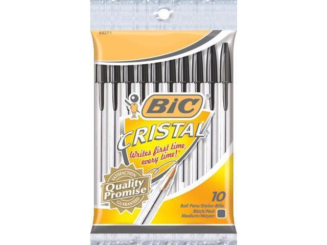 Bic Corporation MSP101BK Bic Cristal Ball Pen-10PK BLK CRISTAL PEN