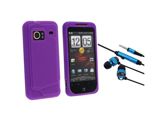 HTC EVO 4G 3.5mm In-Ear Stereo Headset w/ On-off & Mic with Droid Incredible Purple Silicone Skin Case