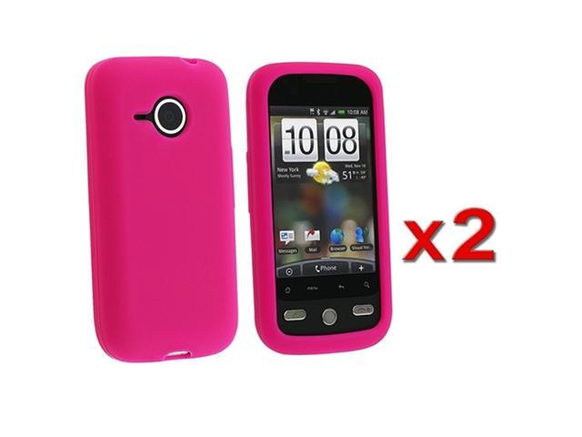Twin Pack Silicone Skin Case - Hot Pink compatible with HTC Droid Eris / Desire