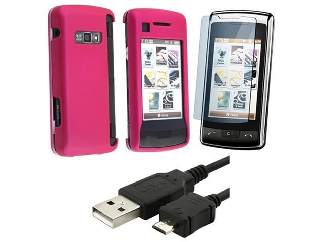 Hot Pink Snap-On Rubberized Case + USB Data Cable compatible with LG Env Touch Vx11000