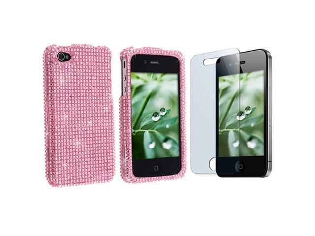 Light Pink Diamond Snap-on Case + Reusable Screen Protector Compatible With Apple® iPhone® 4 iPhone® 4S AT&T, Sprint, Version 16GB 32GB 64GB
