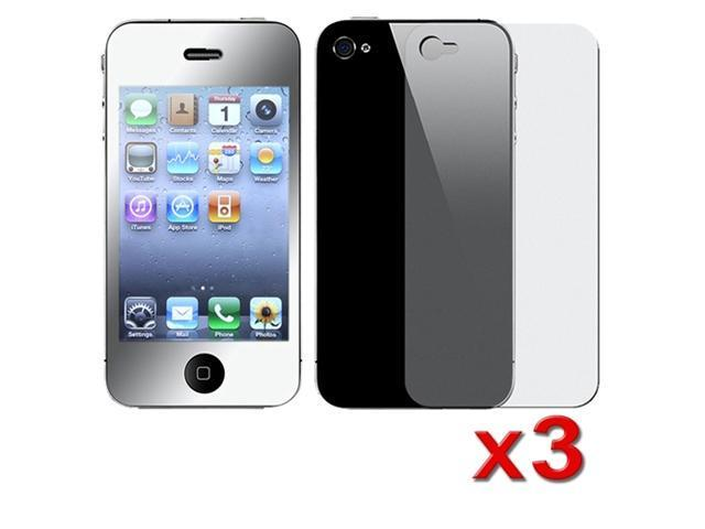 Insten 3 x Screen Protector (Front Mirror / Back Transparent) for Apple iPhone 4 / 4S