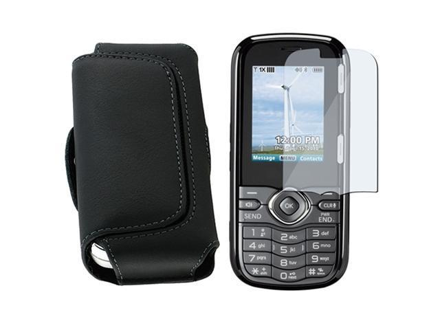 Black Leather Case compatible with Lg Cosmos Vn250 with Lcd Screen Shield Film