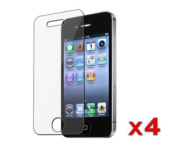 Insten 4-Pack Premium Reusable Lcd Screen Protector for Apple iPhone 4 / 4S