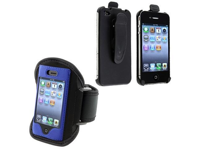 Swivel Holster + sport running ArmBand Black w/ Blue Trim Compatible With Apple® iPhone® 4 iPhone® 4S AT&T, Sprint, Version 16GB 32GB 64GB