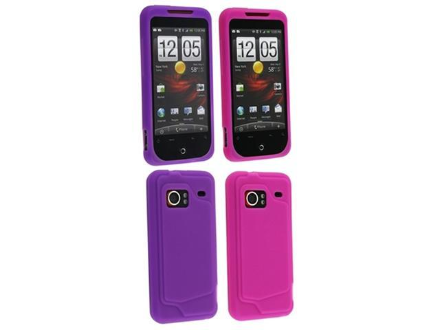 Hot Pink / Dark Purple Silicone Skin Case compatible with HTC Droid Incredible