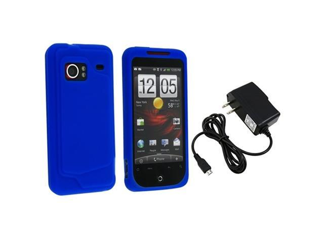 Dark Blue Silicone Skin Case + Travel charger compatible with HTC Droid Incredible
