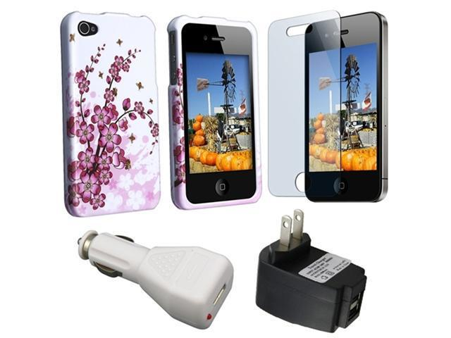 Spring Flowers Snap On Crystal Hard Cover + 2 USB Port Home Charger + Premium Reusable LCD Screen Protector Compatible With Apple® iPhone® 4 AT&T 16GB / 32GB Verizon 16GB / 32GB
