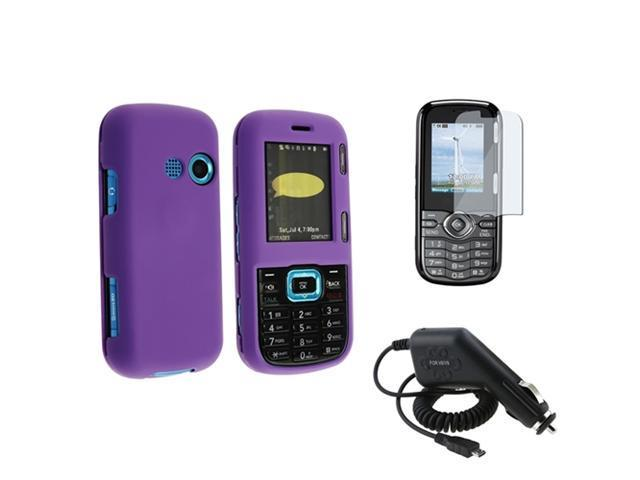compatible with Lg Cosmos Vn250 3Pcs Bundle - Dark Purple - Rubberized Hard Case + Lcd Shield Screen Guard + Car Charger