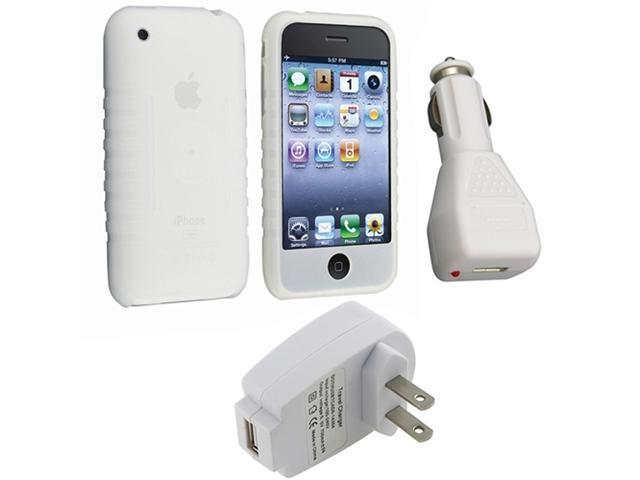 Acessory Packs Compatible With iPhone® 3GS 16 / 32GB - Clear White Silicone Soft Gel Case, Universal USB Car Charger Adapter, Universal USB Travel Home Wall Charger Adapter