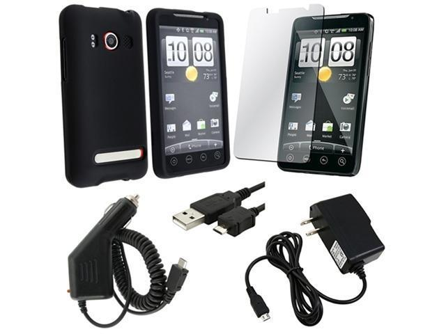 compatible with HTC EVO 4G Bundle Kit - Black Rubberied Hard Case + Usb Charging Cable + Lcd + Wall + Car Charger