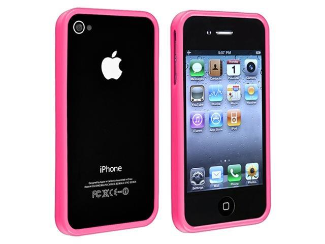 TPU Rubber Bumper Case with Black Touch Screen Stylus compatible with Apple® iPhone® 4 4S, Pink Shiny (with Reusable Screen Protector Bonus Included)