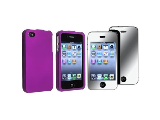 Dark Purple Rubberized Hard Case Compatible with Apple® iPhone® 4 iPhone® 4S - AT&T, Sprint, Version 16GB 32GB 64GB w/ Mirror Screen Protector