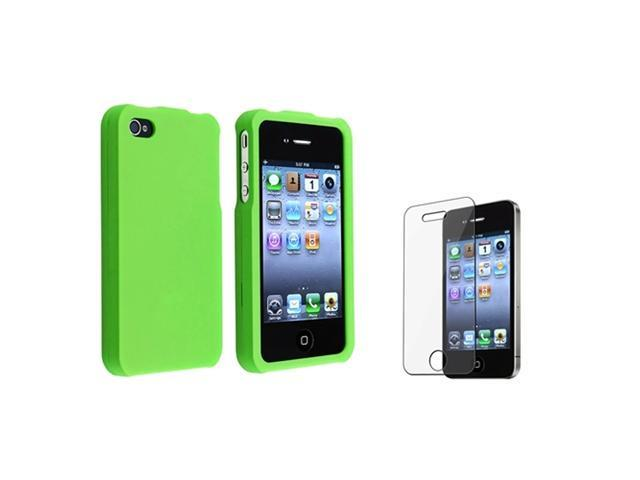 Light Green Rubberized Case Compatible with Apple® iPhone® 4 iPhone® 4S - AT&T, Sprint, Version 16GB 32GB 64GB with Screen Shield Film