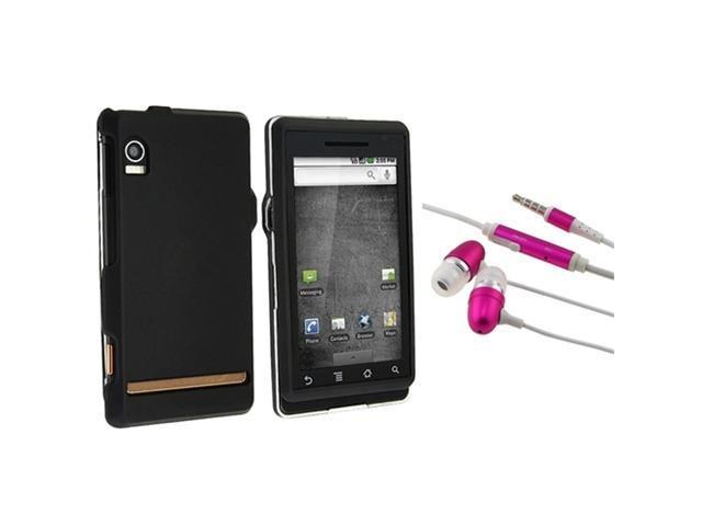 Black Rubberized Hard Case compatible with Motorola A855 Droid + Universal 3.5mm Pink Earphone Headset w/Mic
