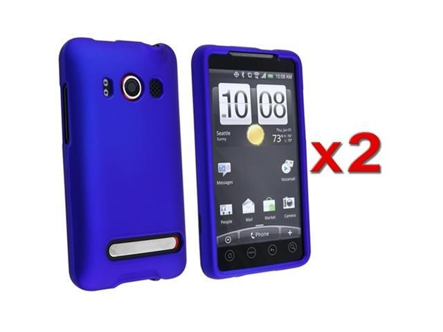 2x Dark Blue Rubberized Snap-on design Hard Case Skin Cover compatible with HTC EVO 4G
