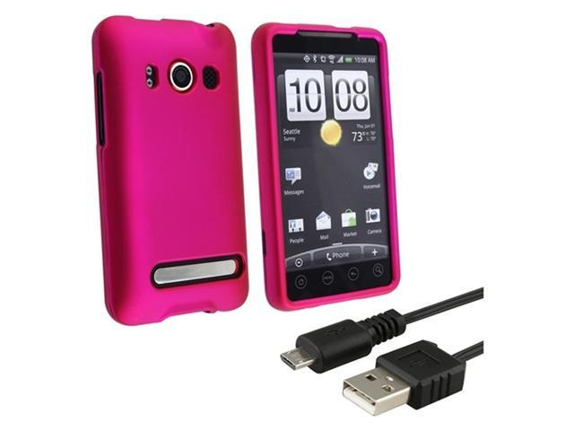 HTC COMBO Hot Pink Rubberized Hard Case + Universal Retractable Micro USB Cable compatible with HTC EVO 4G