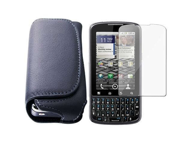 Horizontal Leather Case + Lcd Screen Shield Guard compatible with Motorola Droid Pro