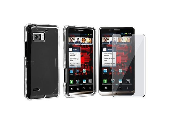 Snap-on Crystal Case with Clear Screen Protector Compatible with Motorola Droid Bionic XT875, Clear