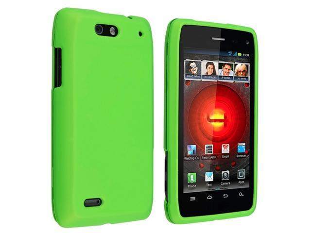 Green Snap on Hard Rubber Case with Reusable Screen Protectorcompatible with Motorola Droid 4 XT894