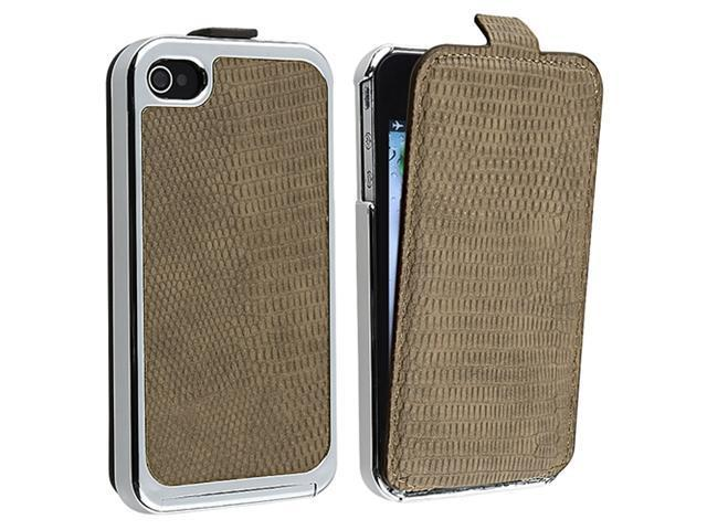 Snap-on Case with Removable Leather Cover compatible with Apple® iPhone® 4 / 4S , Brown with Chrome Sides