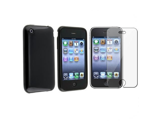 Black TPU Gel Case Cover+SP compatible with Apple® iPhone® 3GS 3G + Screen Protector