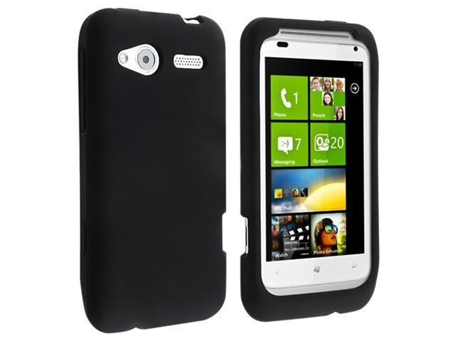 Silicone Skin Case with Clear Screen Protector compatible with HTC Radar, Black