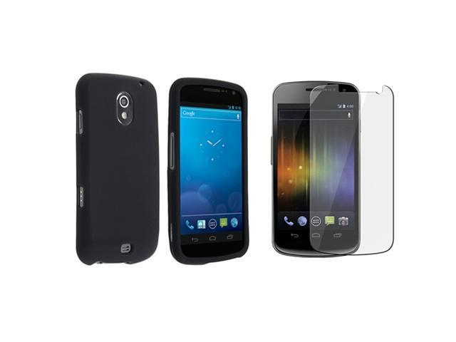 Black Snap on Rubberized Case compatible with Samsung© Galaxy Nexus i515, Bonus Clear LCD Screen Protector Included