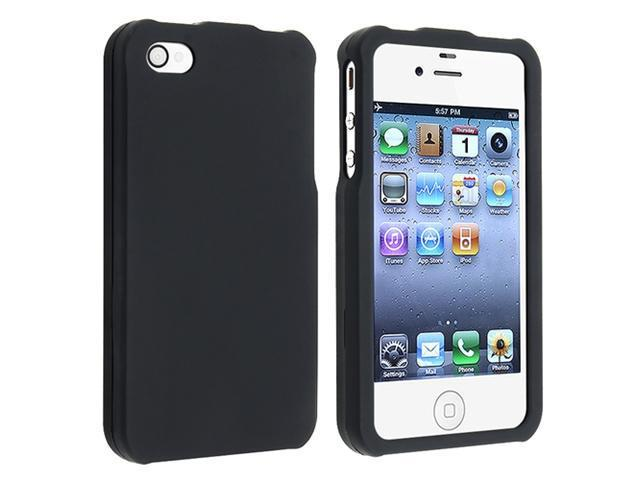 Snap-on Rubber Coated Case Compatible With Apple® iPhone® 4 / 4S, Black