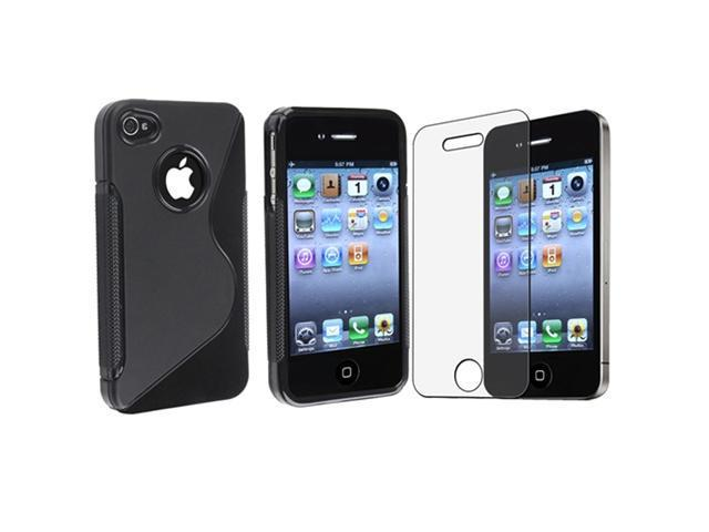 Clear TPU Gel Silicone Case Compatible With iPhone® 4 iPhone® 4S - AT&T, Sprint, Version 16GB 32GB 64GB Black + LCD Film