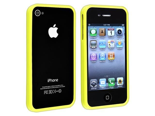 Bumper TPU Rubber Skin Case + Anti-Glare Screen Protector Guard compatible with Apple® iPhone® 4 4S, Yellow